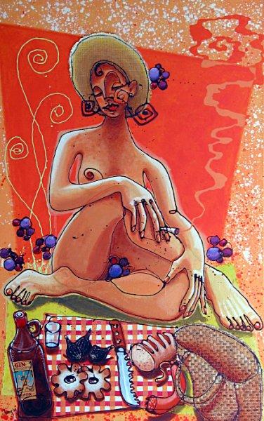 almuerzo dama desnudo